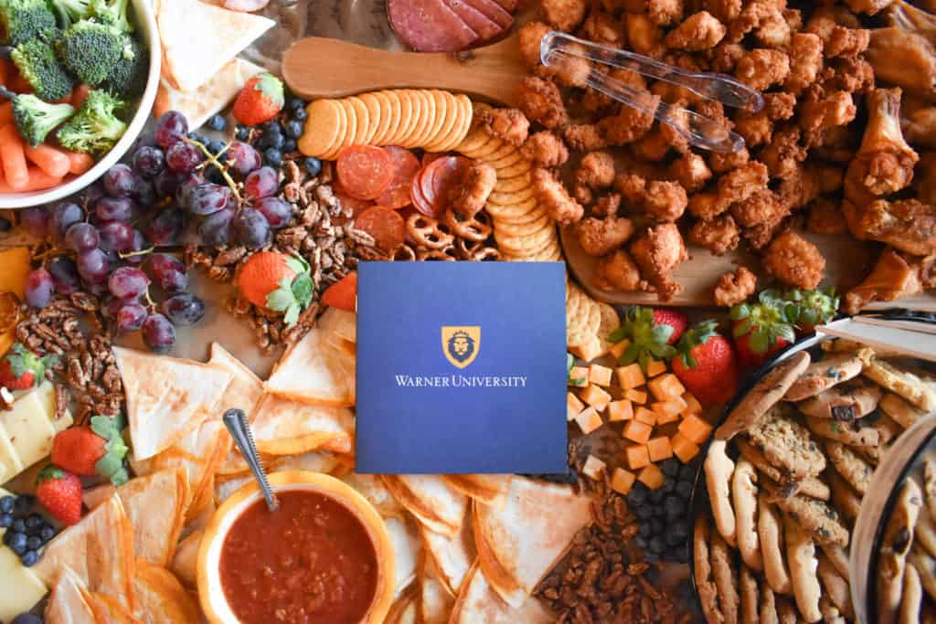 Delicious charcuterie table at the Warner University Alumni Gathering